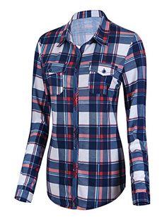 82a6219b7d2e Damen Karierte Blusen Langarmhemd Karierte Bluse Plaid Shirt (XL,  1) Karierte  Bluse