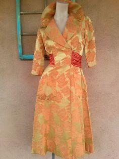 Vintage 1950s Dress Silk Brocade 50s Coat Dress Standing Collar W26 2015426