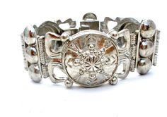 Silver Shield Bracelet Wide Vintage by TheJewelryLadysStore