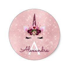 Pink Rose Gold Sparkle Unicorn Monogram Birthday Classic Round Sticker - girly gifts special unique gift idea custom