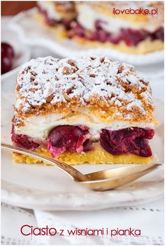 Cherry layer cake / Ciasto z wiśniami – ilovebake. Polish Desserts, Polish Recipes, Cherry Desserts, Cookie Desserts, Cherry Cake, Fitness Cake, Breakfast Menu, Gluten Free Cakes, Baked Goods