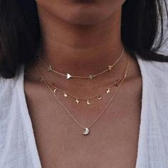 Docona New Fashion Gold Color Chain Choker Necklace For Women Ladies Moon Star Bird Three Layer Jewelry Party Wholesale Pearl Pendant Necklace, Boho Necklace, Collar Necklace, Fashion Necklace, Boho Jewelry, Necklace Set, Anchor Necklace, Jewelry Party, Fashion Jewelry