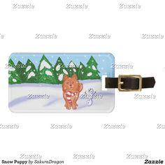 Snow Puppy Bag Tag #dogs #snowman #christmas #winter #Pomeranian