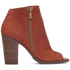 Lucky Brand Lamija Stacked Heel Bootie ($129) ❤ liked on Polyvore featuring shoes, boots, ankle booties, russet, stacked heel booties, bootie boots, leather ankle booties, stacked heel ankle boots and lucky brand bootie