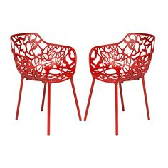 LeisureMod Devon Modern Red Aluminum Chair Outdoor chair Dining chair (Set of 2) (Devon Red Aluminum Chair with arms, Set of 2)
