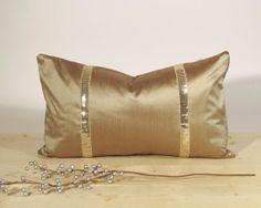 Lumbar pillow cover, Bolster, Dupioni silk, Sequin trim, Tan velvet backing, Antique gold, Sparkly, 12x20, $34.00 via Etsy