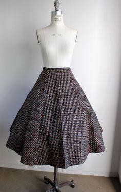 Vintage 1950s Black Quilted Circle Skirt / Novelty Print