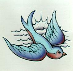 BLUEBIRD TEMPORARY TATTOO FAKE TATOO BLUE BIRD VINTAGE ROCKABILLY