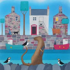 www.ailsablack.com Scottish village scene with otter and puffins.