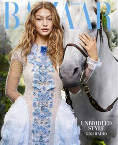 Gigi Hadid (in Fendi Haute Forrure gown) for Harper's Bazaar's October 2016. Photographed by Karl Lagerfeld.