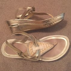 Cole Haan Sandals Champagne gold sandals only worn a few times. Have Nike Air in the bottom, so they're super comfy! $60 or best offer. Cole Haan Shoes Sandals