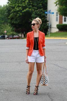 bright orange red blazer, black tank, white shorts, black lace up booties, Chevron Dooney & Bourke tote