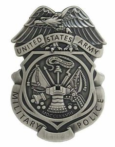 Army Military Police Badge Patch with Hook Fastener (Military Issued)-Veteran Owned Business