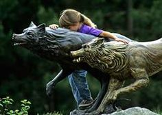 Wolf sculpture at the International Wolf Center Ely