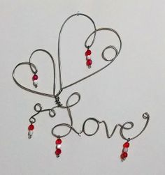 Valentine Hearts and Love, Wire Hanging Design, Red & Mother of Pearl Glass Beads