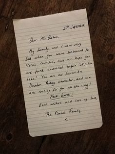 The first entry for the Free Bates Campaign is from Davison Davison Fenner and her Family with a lovely letter for Mr Bates. How lovely! Samurai, Social Tv, Period Dramas, Downton Abbey, Favorite Tv Shows, Campaign, Love You, Cards Against Humanity, Lettering