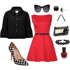 black and red, created by bbrink685.polyvore.com