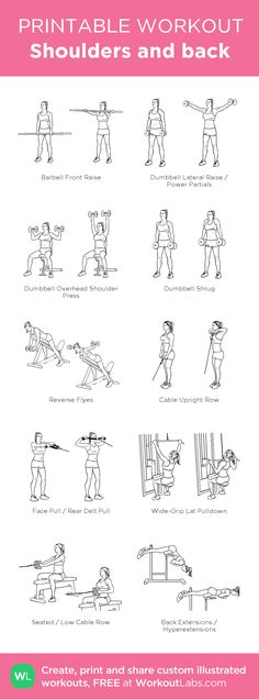 Shoulders and back:my visual workout created at WorkoutLabs.com • Click through to customize and download as a FREE PDF! #customworkout