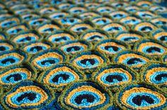 Peacock Pretty Blanket / Afghan / Throw Crochet von kraftling