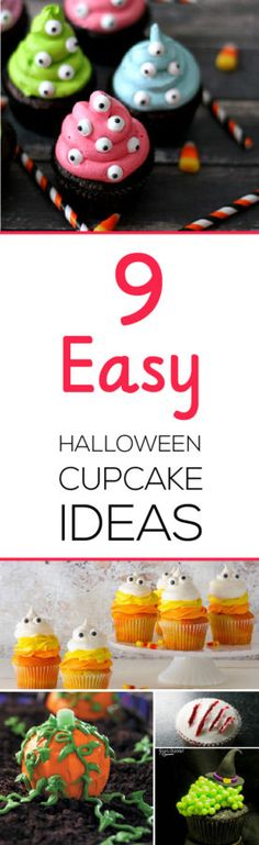 Make great looking cupcakes without spending hours in the kitchen with these 9 easy Halloween cupcake ideas!