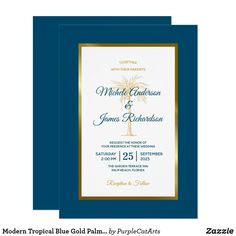 Shop Modern Tropical Blue Gold Palm Tree Beach Wedding Invitation created by PurpleCatArts. Personalize it with photos & text or purchase as is! Wedding Invitations Elegant Modern, Monogram Wedding Invitations, Zazzle Invitations, Party Invitations, Invite, Invitation Cards, Gold Beach Wedding, Navy Blue And Gold Wedding, Tree Wedding