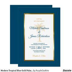 Modern Tropical Blue Gold Palm Tree Beach Wedding Invitation