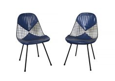 Eames Wire Chairs Herman Miller Venice, Ca. Original Blue Bikini Seat Covers by HearthsideHome on Etsy