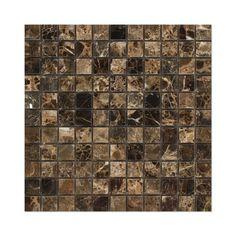 "Buy 1 X 1 Emperador Dark Marble Polished Mosaic Tile Sample Product Attributes - Item: Premium (SELECT) Quality 1"" X 1"" Spanish Emperador Dark Marble POLISHED MOSAIC TILE (ON-MESH) - Dimensions (per p"