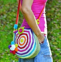 Crochet rainbow bag pattern