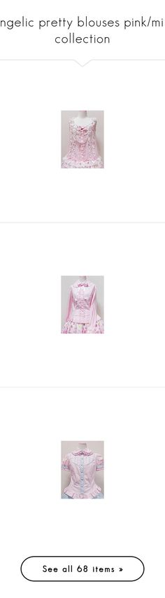 """Angelic pretty blouses pink/mint collection"" by lace-of-queens ❤ liked on Polyvore featuring tops, blouses, angelic pretty, lolita, pink blouse, pink top, purple blouse, purple top, ruffle blouse and ruffle top"