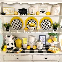 """Pattie on Instagram: """"I changed up my little kitchen hutch again!! I took away all turquoise fiesta. I like the look of just the yellow and black. 💛🖤🍋🐄🖤💛🐖💛🖤…""""#black #changed #fiesta #hutch #instagram #kitchen #pattie #turquoise #yellow"""