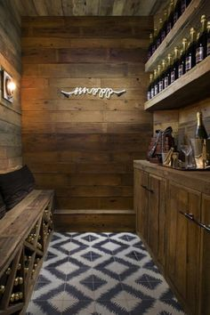 rustic butler's pantry, complete with bar and built in wine racks!