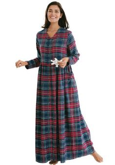 Only Necessities Women s Plus Size Flannel Snap Front Lounger Nightgown f7c5e677d8