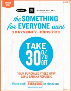 Get up to 19% Cash Back + 30% off Online Coupon at Old Navy, Gap, or Banana Republic!
