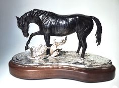 """""""Chapoteando"""" by Marcela Ganly  Horse bronze sculpture with silver plate base Series of 7 www.ganly.net"""