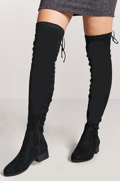 Nov 2017 - Faux Suede Thigh-High Boots By Forever 21 - A pair of faux suede boots featuring an thigh-high design, an exposed side zipper, and low heel. Thigh High Boots Flat, High Heel Boots, Heeled Boots, Bootie Boots, Shoe Boots, High Heels, Women's Shoes, Bota Over, Winter Boots Outfits