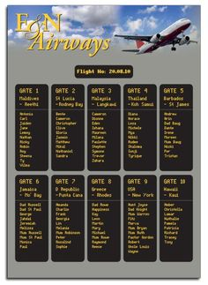 Table plan designed to look like a departure board for a wedding with a travel theme by DestinationStationery.com