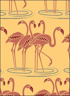 Flamingos stencil -- looks slightly like Egyptian hieroglyphs