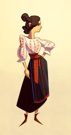 While sketching, I had an idea to draw my country's traditional clothing cause it would look cool with all the embroderies. Figured it looks good to post. Traditional Paintings, Traditional Art, Traditional Outfits, Concept Clothing, Romanian Girls, Fashion Illustration Dresses, Ukrainian Art, Carmilla, Painting Of Girl