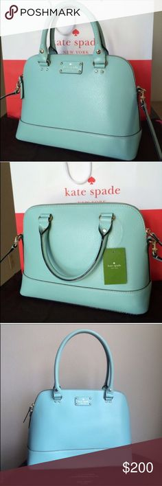 Kate Spade Tiffany Blue Mint Rachelle bag Gorgeous Kate Spade Tiffany Blue Mint Rachelle Bag. Obsessed with the color but unfortunately have way to many bags in my closet. Only carried once, so the tag was removed. I can't find the crossbody strap so the price is for the bag without the strap. Check out my other listings for Tory Burch, Kate Spade, Michael Kors, Steve Madden, etc. kate spade Bags Shoulder Bags