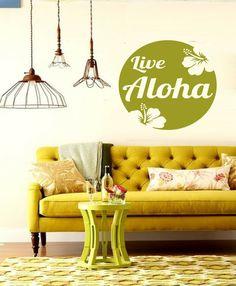 Round Hawaiian Hibiscus Live aloha Saying Sign  by 3rdAveShore, $42.00