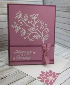 "Stampin' Up!, DIY Crafts, handmade wedding cards, Flourishing Phrases w 141531 c 141534, Rich Razzleberry cs 115316 ink 126950, Sweet Sugarplum cs 141418  ink 141395, Sweet Sugarplum 3/8"" Ruched Ribbon 141428, Embossing Buddy 103083, Versamark 102283, White embossing powder 109132, Heat Tool 129053, Pearls 119247, Medium Whisper White envelopes 107301,http://www.stampinup.net/esuite/home/carolpayne/"