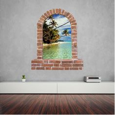 Beach brick window wall sticker and decals. Wall Stickers, Decals, Window Wall, Brick, Windows, Wall Clings, Wall Decals, Tags, Bricks