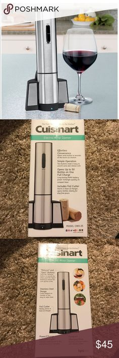 Cuisinart Cordless Rechargeable Wine Opener New Original price $55  Automatic wine opener Opens up to 50 corks on one charge Easy one-touch operation Premium-brushed stainless-steel construction Foil cutter removes foil easily in a holding and twisting motion Storage/charging station keeps opener charged and ready for use NiMH battery pack and charging base included  Please check my other listings i can combine shipping for you cuisinart Accessories