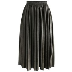 Chicwish Inviting Sheen Velvet Pleated Skirt in Olive ($45) ❤ liked on Polyvore featuring skirts, green, olive skirt, army green skirt, velvet skirt, knee length pleated skirt and chicwish skirt