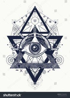 All seeing eye tattoo art vector. Freemason and spiritual symbols. Alchemy, medieval religion, occultism, spirituality and esoteric art. Magic eye, compass and steering wheel t-shirt design Illuminati Tattoo, Kunst Tattoos, Tattoo Drawings, Tattoo Art, Masonic Tattoos, Freemason Tattoo, Freemason Symbol, Tattoo Grafik, Geometric Tattoos