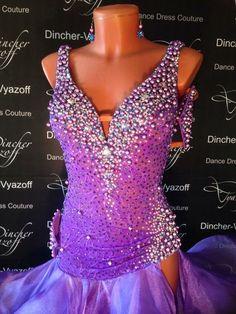 purple silver crystal bodice design latin dress