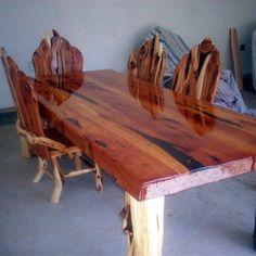 Log Cabin Builder - Elegant Juniper Log Dining Table Set