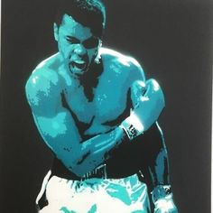 Hand stencilled and spray painted canvas of Muhammed Ali for Queenstown Art Centre, 2019 Art Show. Spray Paint Canvas, Painted Canvas, Ali, Centre, Stencils, Fictional Characters, Painted Screens, Oil On Canvas, Ant