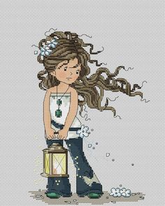 girl with lamp 1 Cross Stitching, Cross Stitch Embroidery, Cross Stitch Patterns, Cross Stitch Boards, Cross Stitch Baby, Square Art, Happy Kids, Art For Kids, Little Girls